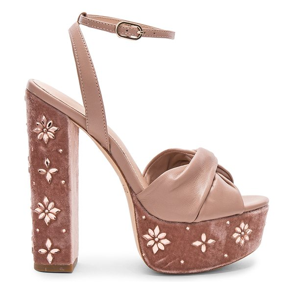 "RACHEL ZOE Claudette Crystal Heel - ""Leather upper and sole. Ankle strap with buckle..."