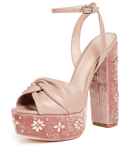 Rachel Zoe claudette crystal platform sandals in nude - Soft leather Rachel Zoe platform sandals featuring a...