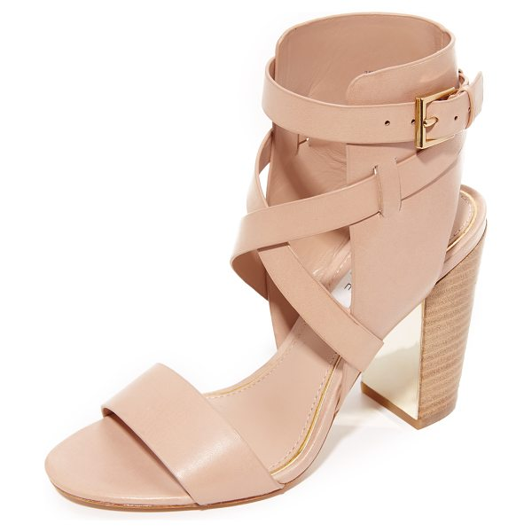 Rachel Zoe delella sandals in nude - Crisscross straps cover the ankle cuff on these...
