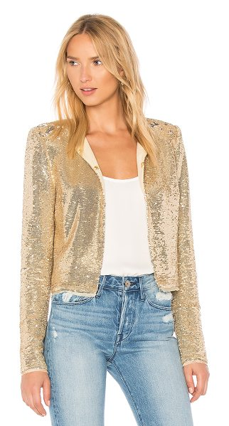 Rachel Zoe Dolly Jacket in metallic gold - Poly blend. Dry clean only. Hook and eye front closures....
