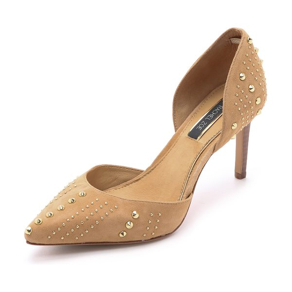 Rachel Zoe Holly suede dorsay heels in warm tan - These d'orsay Rachel Zoe pumps have stud accents for a...