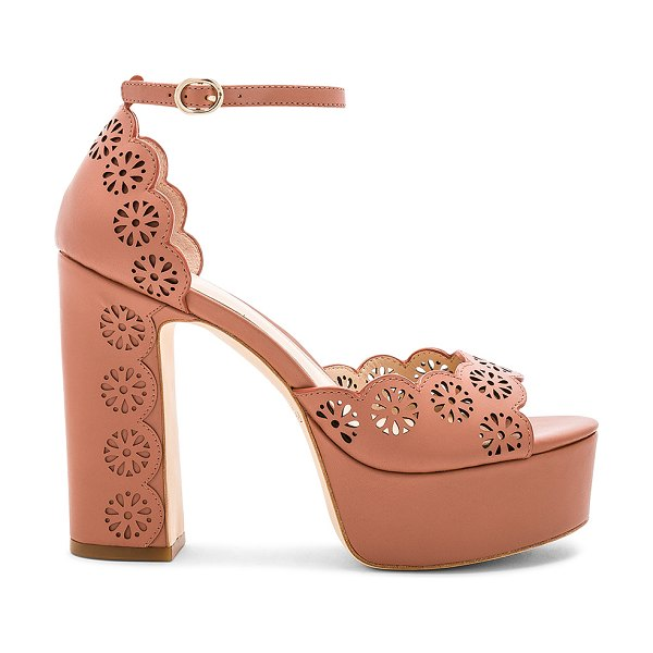 """RACHEL ZOE Jenelle Platform Sandal in brown - """"Leather upper and sole. Ankle strap with buckle..."""