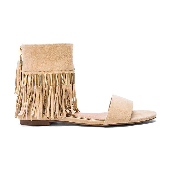 RACHEL ZOE Jessa sandal - Suede upper with rubber sole. Fringe detail with bead...