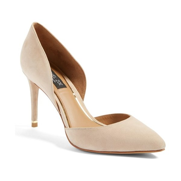 Rachel Zoe kilee dorsay pump in nude - A slender goldtone bar gleams from the back of a tall...