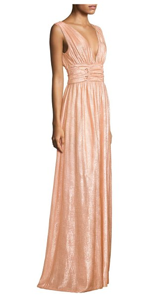 RACHEL ZOE madison sheath gown - Gathered sheath gown in metallic finish. Deep v-neck....