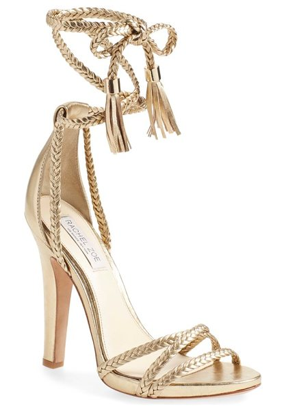 Rachel Zoe odette sandal in gold cracked metallic leather - Braided laces topped with trend-right leather tassels...
