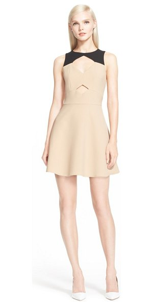 Rachel Zoe page colorblock fit & flare dress in camel/ black - A pair of diamond-shaped keyholes spice up the bodice of...