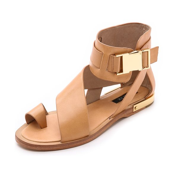 RACHEL ZOE Poppie sandals in dark natural - Fluid, asymmetrical straps lend a wrapped look to...