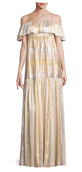 Rachel Zoe raney metallic patterned gown in gold silver - Metallic sheen gown with ruffled overlay at neck....