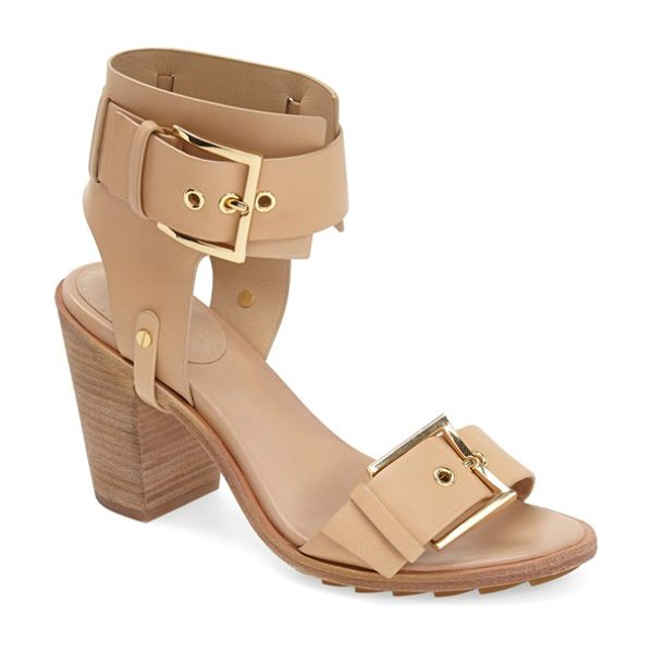 Rachel Zoe reeve ankle strap leather sandal in natural - Bold, polished buckles highlight the smooth leather...