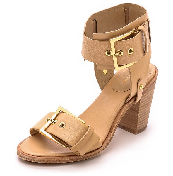 Rachel Zoe Reeve block heel sandals in natural - Chunky, mirrored buckles adjust the thick straps of...