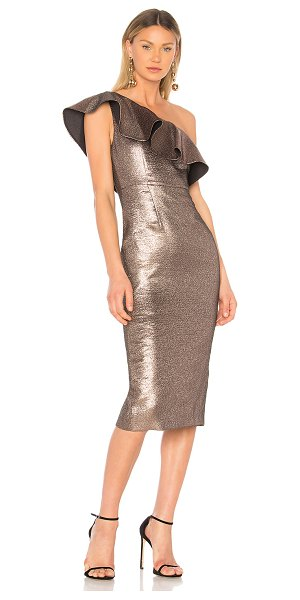 Rachel Zoe Tabitha Dress in metallic bronze - Self: 40% poly 38% cotton 10% acrylic 9% metallized poly...