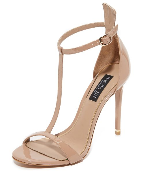 Rachel Zoe Rachel Zoe Tee T-Strap Sandals in nude - Strappy Rachel Zoe sandals with glossy sheen. Buckle...
