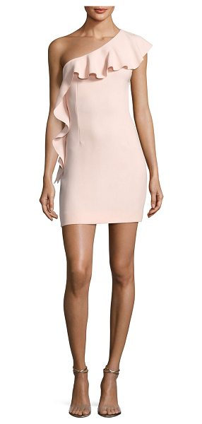 "Rachel Zoe Zoey One-Shoulder Ruffle Cocktail Dress in pink - Rachel Zoe ""Zoey"" crepe cocktail dress. One-shoulder..."