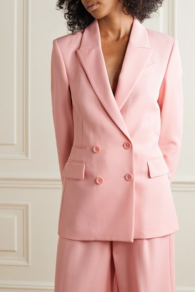 RACIL archie double-breasted wool-twill blazer in baby pink