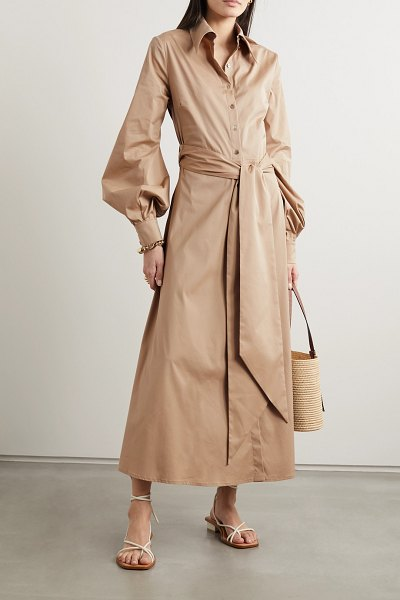 RACIL selman open-back belted cotton-blend shirt dress in tan