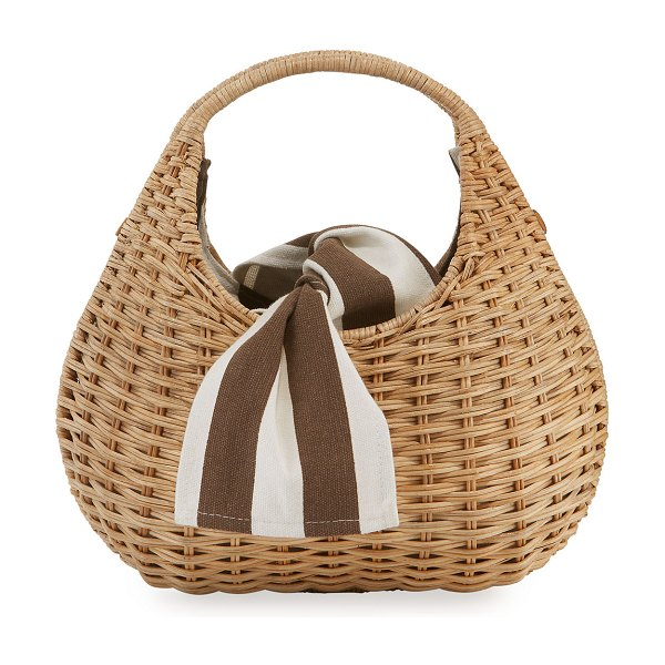 Rafe Sam Pear-Shaped Wicker Tote Bag in beige - Rafe woven wicker tote bag with striped canvas interior....