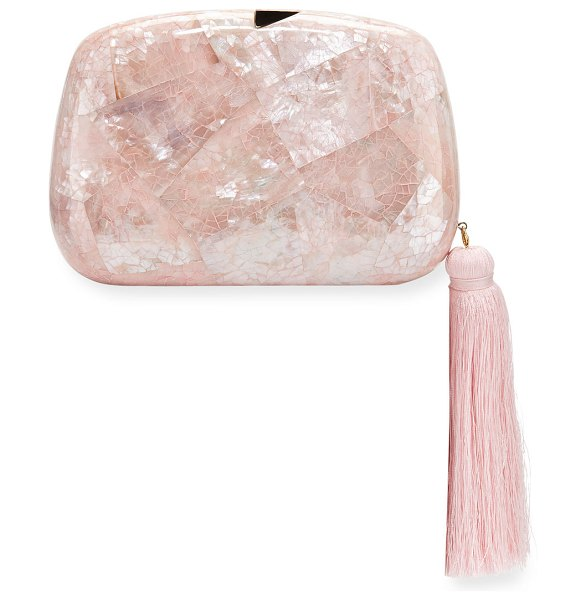 Rafe Stella Minaudiere Clutch Bag with Tassel in light pink - Rafe minaudiere clutch bag in mosaic of mother-of-pearl....