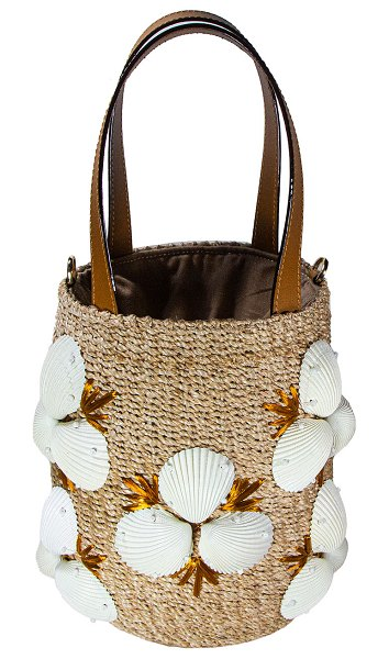 Rafe Vianca Clam Shell Abaca Bucket Tote Bag in natural