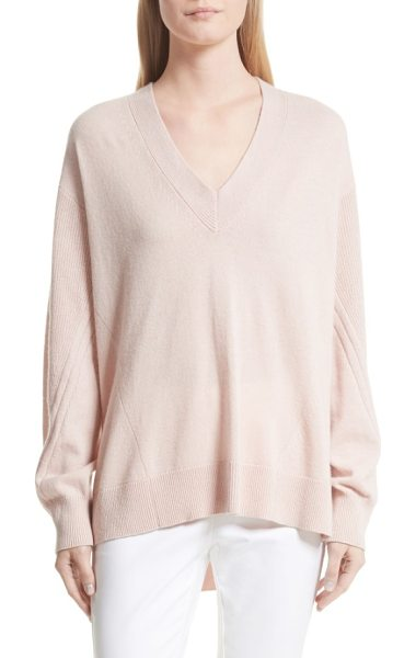 Rag & Bone ace cashmere sweater in blush - Engineered stitching adds textural interest to an...