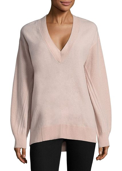Rag & Bone ace knit cashmere sweater in blush - Cashmere pullover sweater with back slit detail.V-neck....