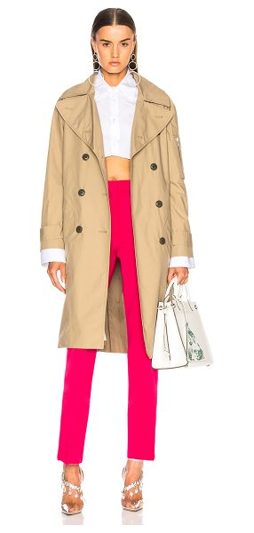 Rag & Bone Ace Trench Coat in brown,neutrals - Self: 100% cotton - Contrast Fabric: 100% sheep leather...
