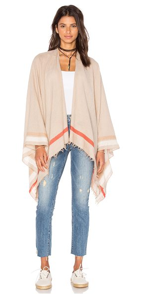 Rag & Bone Addie Poncho in tan - 100% wool. Dry clean only. Open front. Frayed trim....