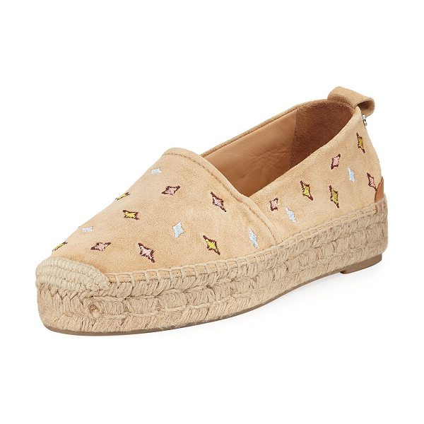 "Rag & Bone Adria Embroidered Slip-On Espadrille Flat in dune embrdrd - Rag & Bone star-embroidered suede espadrille. 1"" braided..."
