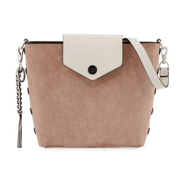 Rag & Bone Atlas Suede Bucket Bag in light pink - Rag & Bone suede and leather bucket bag with silvertone...