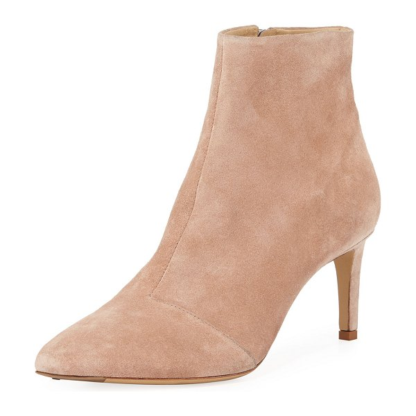 "Rag & Bone Beha Suede Zip-Up Booties in nude - Rag & Bone booties in soft suede. 2.8"" covered, slim..."
