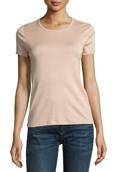 "Rag & Bone Bridgette Rope-Trim Tee in pink - Rag & Bone ""Bridgette"" jersey tee with rope-style trim...."