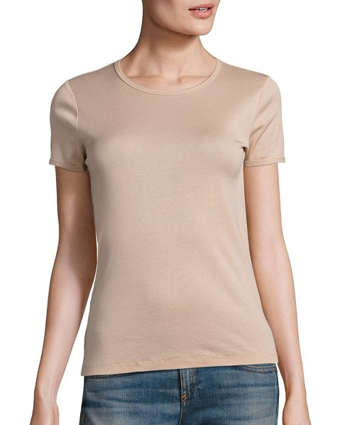 Rag & Bone bridgette tee in dust rose - Scalloped trim refreshes classic cotton tee. Crewneck....