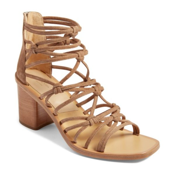 Rag & Bone camille knotted strappy sandal in camel suede - Cleverly knotted mignon straps cage the front of a...