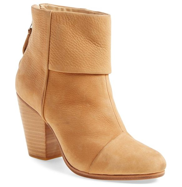 Rag & Bone classic newbury boot in tan nubuck - A stacked heel offers walkable lift to a versatile and...