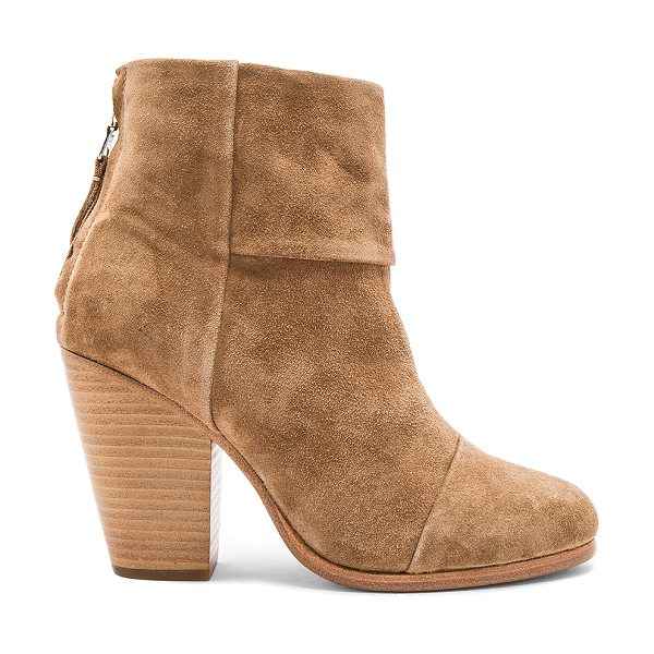 Rag & Bone Classic Newbury Bootie in camel suede - Suede upper with leather sole. Back zip closure. Heel...