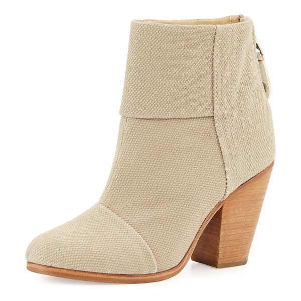 "Rag & Bone Classic Newbury Canvas Bootie in taupe - Rag & Bone canvas bootie. 3.5"" chunky heel; 4.5""H shaft;..."