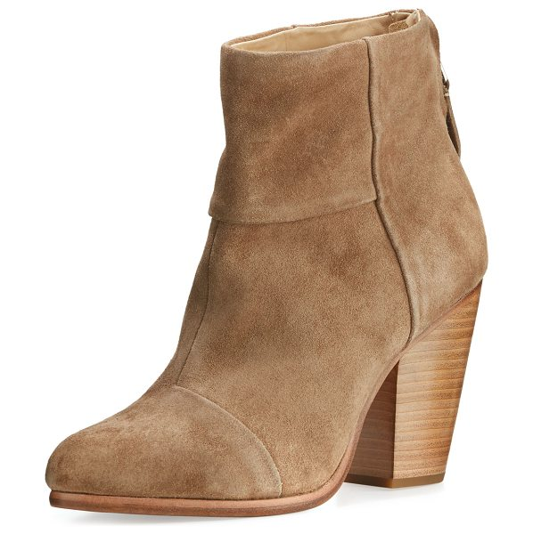 "Rag & Bone Classic Newbury Suede Ankle Boot in camel suede - Rag & Bone boot in paneled Italian cowhide leather. 3.5""..."