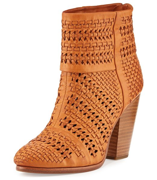 "Rag & Bone Classic Newbury Woven Leather Bootie in tan - Rag & Bone woven Italian leather bootie. 3.8"" stacked..."