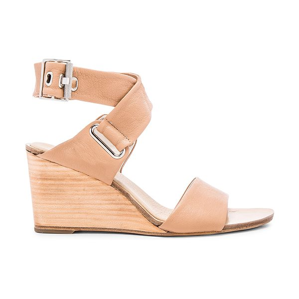 Rag & Bone Damien Wedge in beige - Leather upper and sole. Ankle strap with buckle closure....