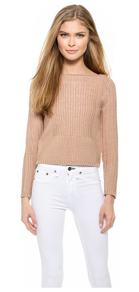 Rag & Bone Delphine pullover in rugby tan - A subtle square pattern styled in smooth stitches...