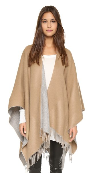 Rag & Bone double sided poncho in camel - Fringe trims the hem of this soft, reversible Rag & Bone...