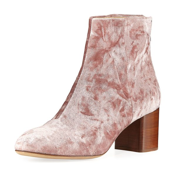 "Rag & Bone Drea Crushed Velvet Ankle Boot in mauve - Rag & Bone ankle boot in crushed velvet. 2.5"" stacked..."