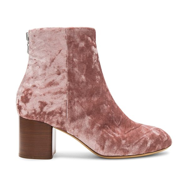 "Rag & Bone Drea Velvet Bootie in mauve - ""Velvet textile upper with leather sole. Back zip..."