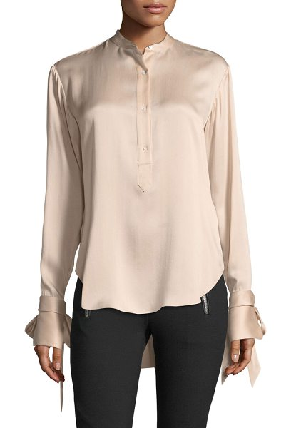 "RAG & BONE Dylan Button-Front Silk Charmeuse Blouse - Rag & Bone ""Dylan"" blouse in silk charmeuse. Approx...."