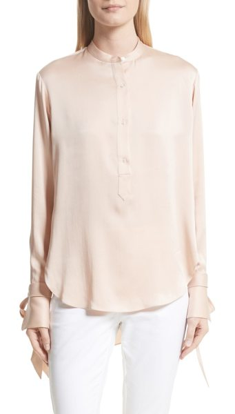 Rag & Bone dylan shirt in dusty rose - Modern details like blade-baring cutouts and long tie...