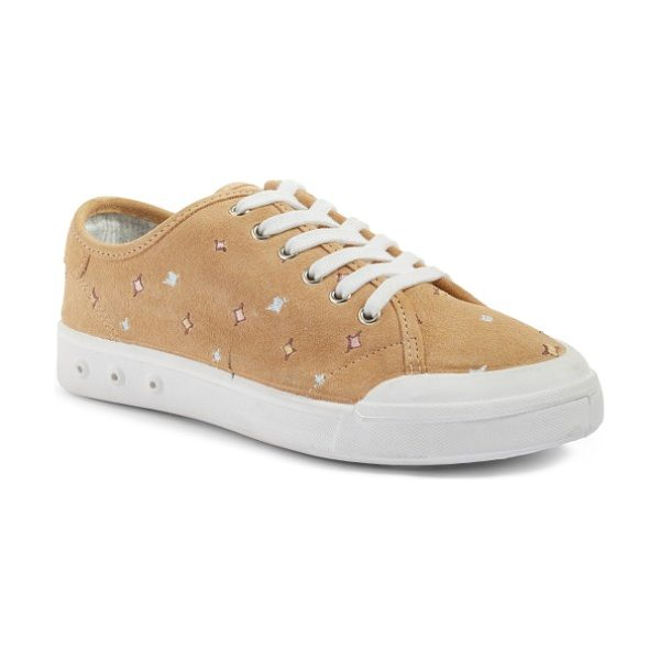 Rag & Bone embroidered standard issue sneaker in dune embroidery - Colorful embroidered stars and velvety Italian suede...