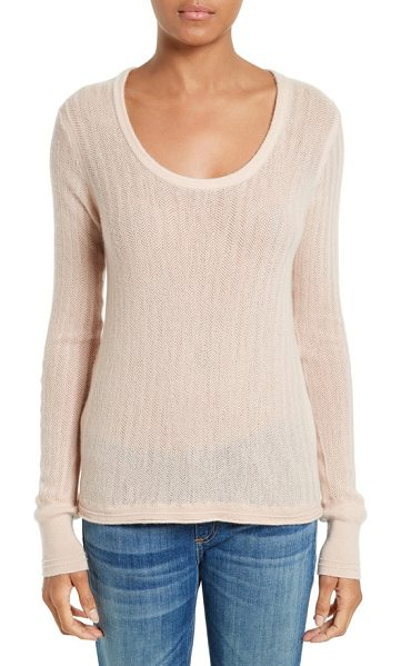 Rag & Bone estelle cashmere sweater in rose dust - Knit with a subtle herringbone texture, this...