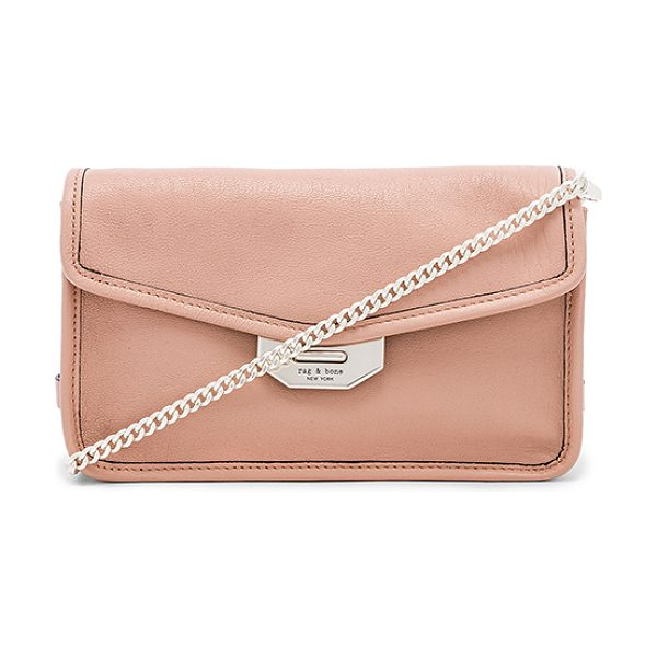 """Rag & Bone Field Clutch Bag in pink - """"Leather exterior with twill fabric lining. Flap top..."""