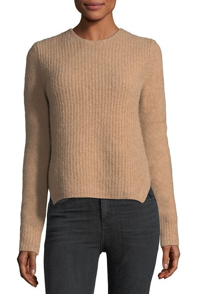 "Rag & Bone Francie Crewneck Pullover Wool Sweater w/ Elbow Patches in camel - Rag & Bone ""Francie"" sweater in boucle wool knit. Crew..."
