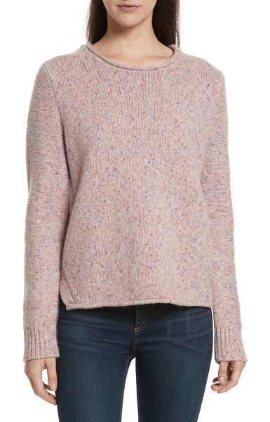 Rag & Bone francie suede trim wool blend sweater in pink multi - Suede elbow patches prep up this classic crewneck...